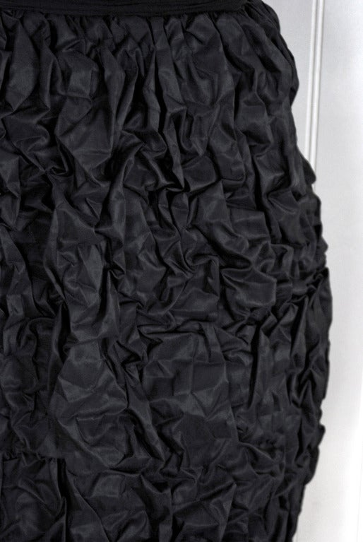 1950's Black Silk-Chiffon & Taffeta Heavily-Ruched Party Dress 3