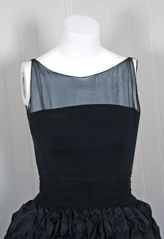 1950's Black Silk-Chiffon & Taffeta Heavily-Ruched Party Dress 4