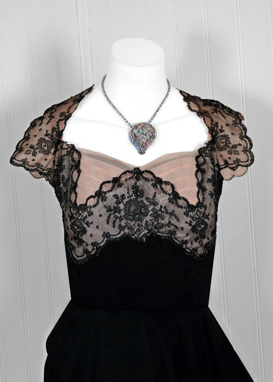 Black 1940's Chantilly-Lace & Silk Sheer-Illusion Peplum Hourglass Cocktail Dress For Sale