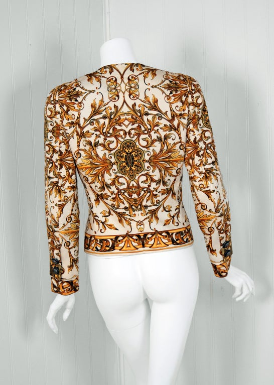 1991 Gianni Versace Couture Iconic Baroque Print Jacket 5