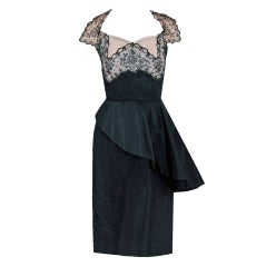 1940's Chantilly-Lace & Silk Sheer-Illusion Peplum Hourglass Cocktail Dress