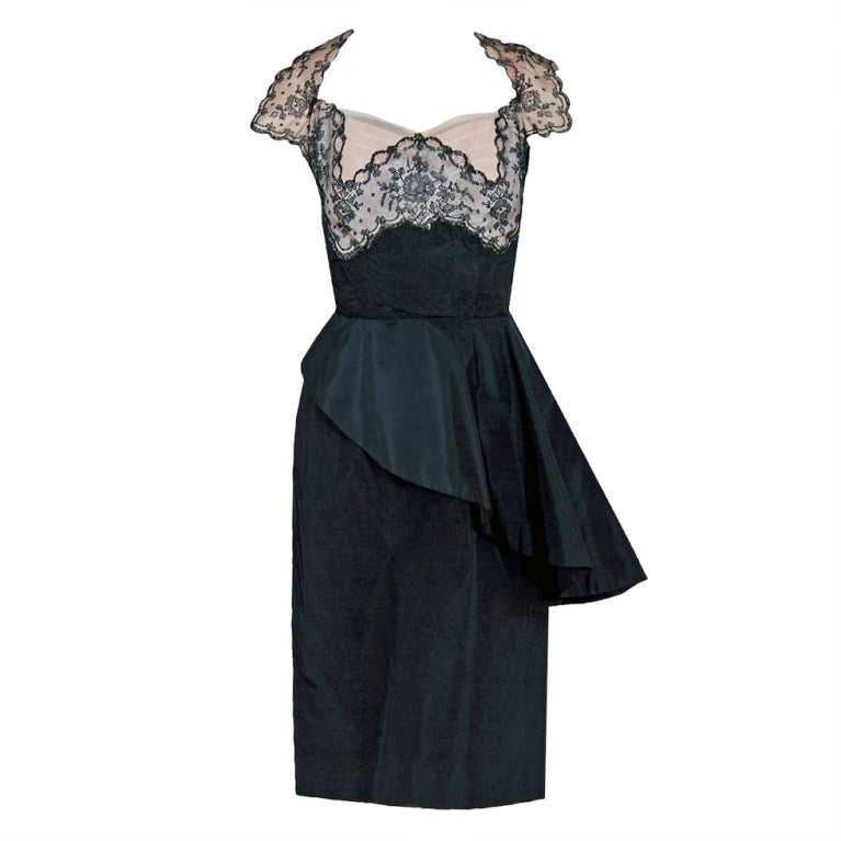 1940's Chantilly-Lace & Silk Sheer-Illusion Peplum Hourglass Cocktail Dress