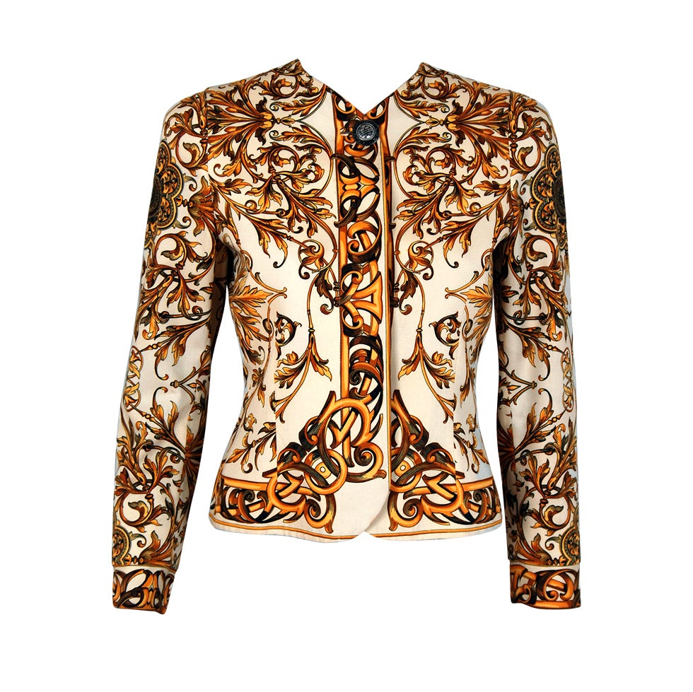 1991 Gianni Versace Couture Iconic Baroque Print Jacket 1