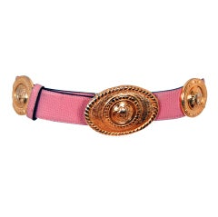 Gianni Versace Couture Baby-Pink Leather Gold Medusa Belt, 1994