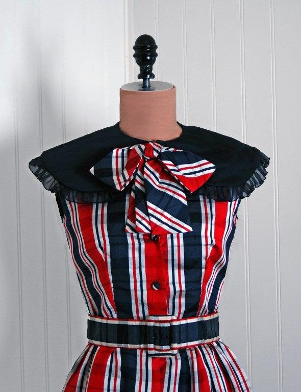 1960's Oscar de la Renta Plaid-Silk Belted Mod Babydoll Dress 2