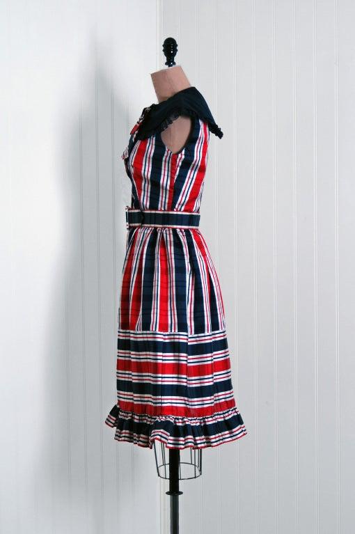 1960's Oscar de la Renta Plaid-Silk Belted Mod Babydoll Dress 3