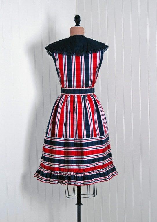 1960's Oscar de la Renta Plaid-Silk Belted Mod Babydoll Dress 4