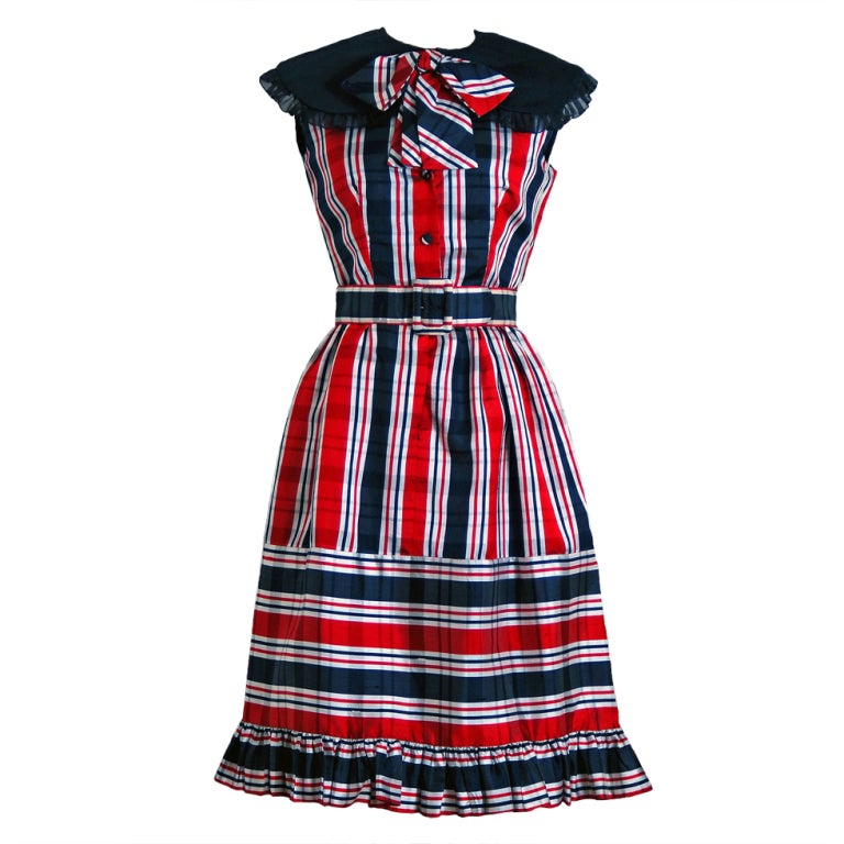 1960's Oscar de la Renta Plaid-Silk Belted Mod Babydoll Dress 1
