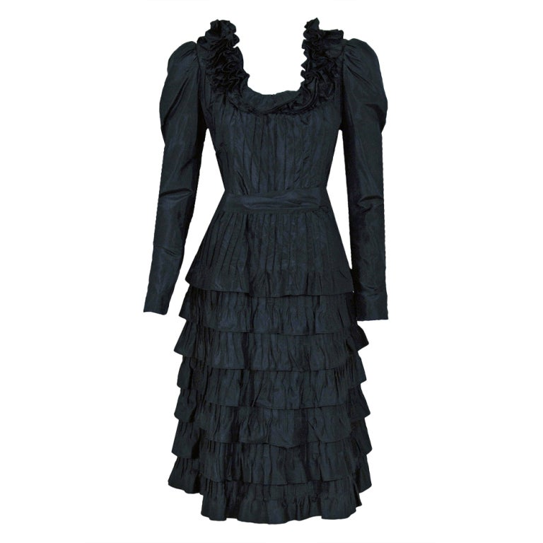 1971 yves saint laurent black haute couture tiered silk for Haute couture dress price