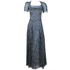 1933 Molyneux Haute-Couture Elegant Silk-Chiffon & Satin Gown