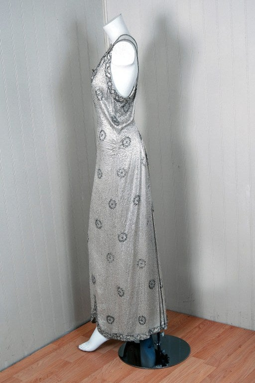 1930's Elegant Heavily-Beaded White Satin Bias-Cut Larger Size Evening Gown 2