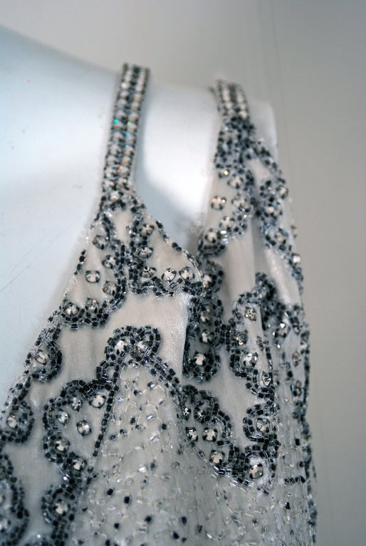 1930's Elegant Heavily-Beaded White Satin Bias-Cut Larger Size Evening Gown 3