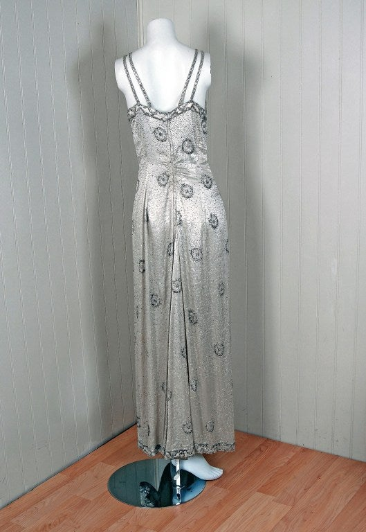 1930's Elegant Heavily-Beaded White Satin Bias-Cut Larger Size Evening Gown 6