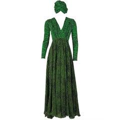 1968 La Mendola Couture Grecian Silk-Chiffon Dress & Turban-Hat