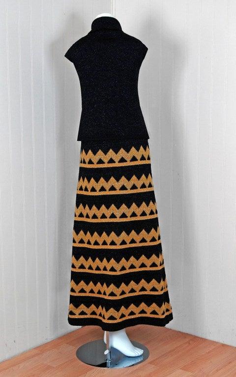 Women's 1960's Pierre Balmain Black & Metallic Gold Mod Op-Art Wool Knit Dress Ensemble For Sale