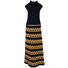 1960's Pierre Balmain Black & Metallic Gold Mod Op-Art Wool Knit Dress Ensemble