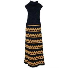 1960's Pierre Balmain Black & Metallic Gold Mod Op-Art Wool Knit Dress Ensemble