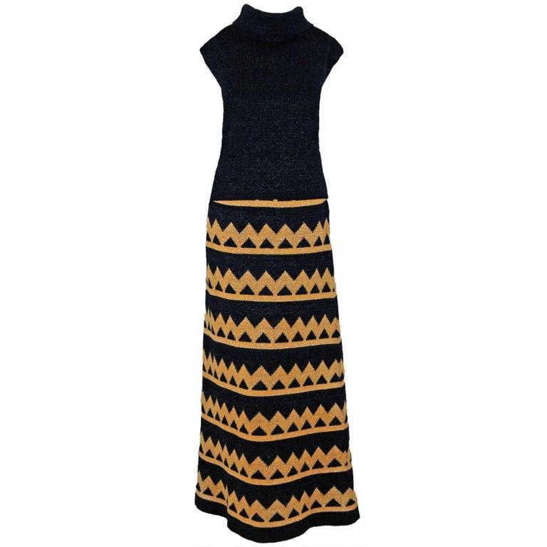 1960's Pierre Balmain Black & Metallic Gold Mod Op-Art Wool Knit Dress Ensemble For Sale