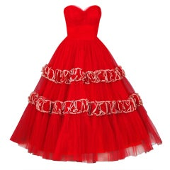 1950's Will Steinman Ruby-Red Tulle Strapless Full Party Dress