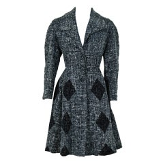 1940's Lilli Ann Charcoal-Gray Harlequin Wool Princess Coat