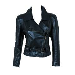 1990's Jean-Claude Jitrois Rare Black Leather Motorcycle Jacket