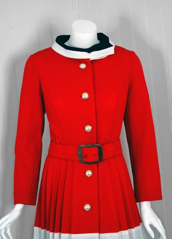 1960's Alfred Werber Red,White & Blue Mod Pleated-Coat Dress Set 2