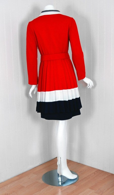 1960's Alfred Werber Red,White & Blue Mod Pleated-Coat Dress Set 4