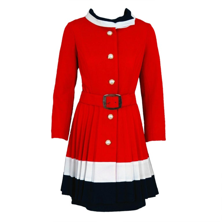 1960's Alfred Werber Red,White and Blue Mod Pleated-Coat Dress Set ...