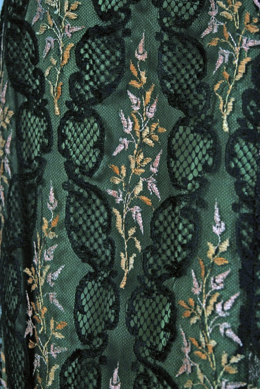 Black 1910's Edwardian Sage-Green Beaded French Floral Lace Off-Shoulder Evening Gown For Sale