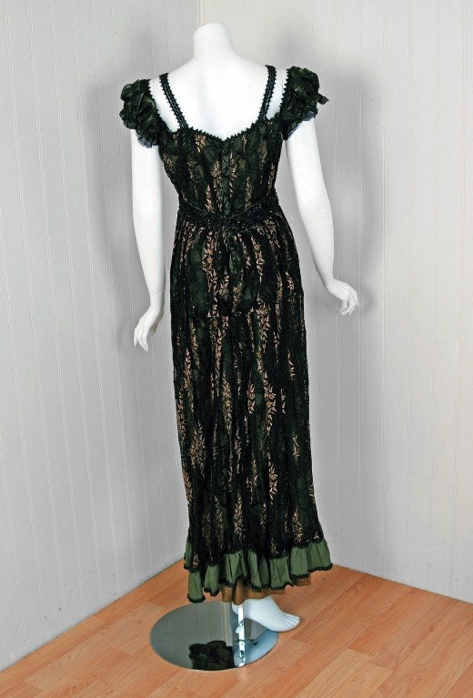 1910's Edwardian Sage-Green Beaded French Floral Lace Off-Shoulder Evening Gown 6