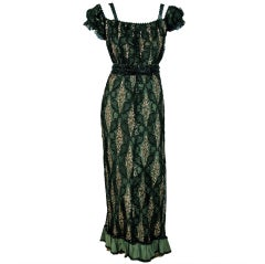 1910's Edwardian Sage-Green Beaded French Floral Lace Off-Shoulder Evening Gown