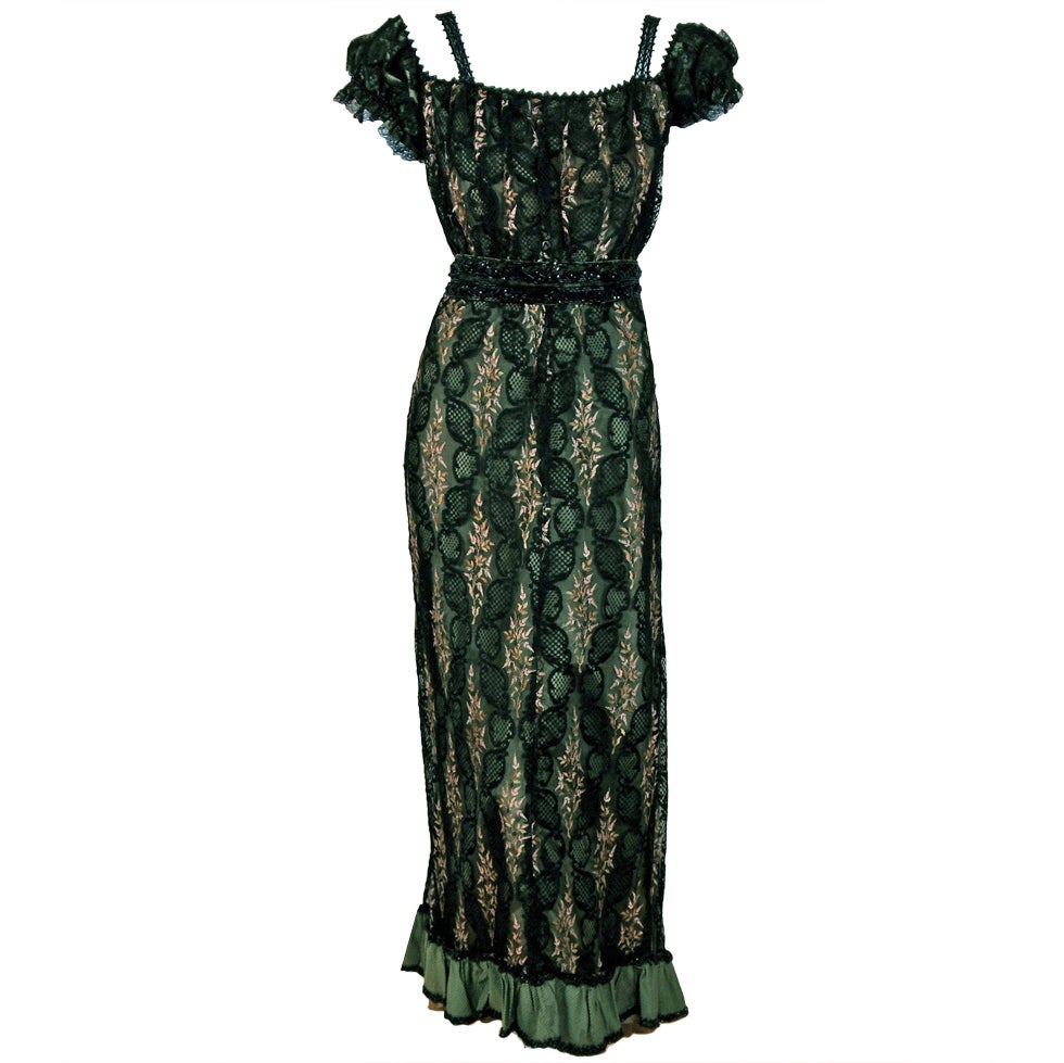 1910's Edwardian Sage-Green Beaded French Floral Lace Off-Shoulder Evening Gown For Sale