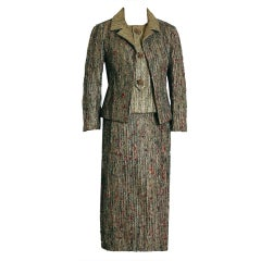 1963 Christian Dior Documented Metallic-Gold Lame & Textured Wool Dress Suit