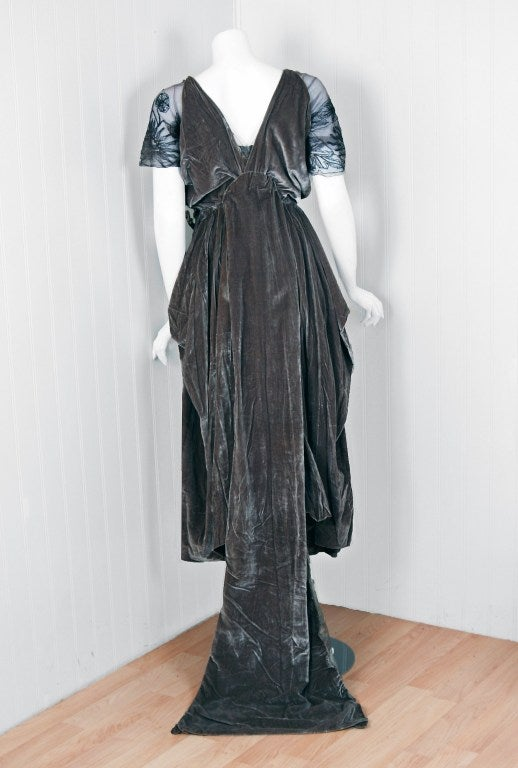 1910 u0026 39 s edwardian couture silver lame and velvet gown with train at 1stdibs