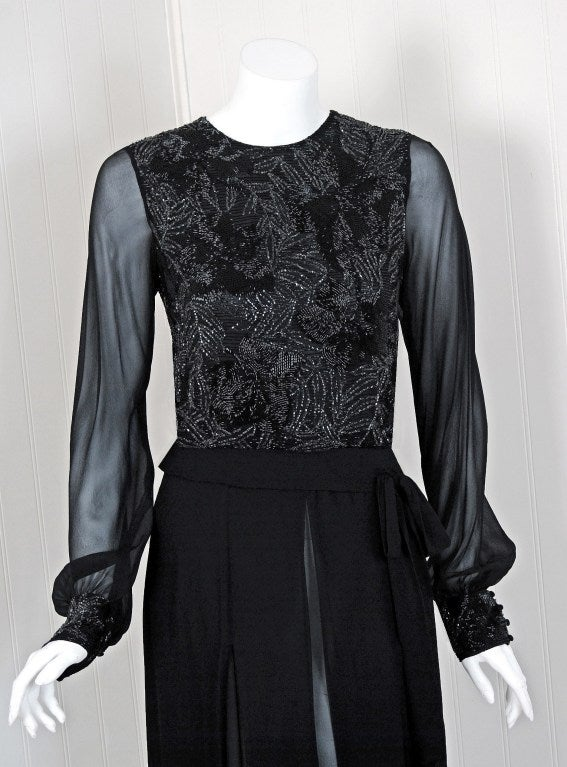 1970's Chanel Haute-Couture Black Silk Chiffon Beaded Evening Gown 2