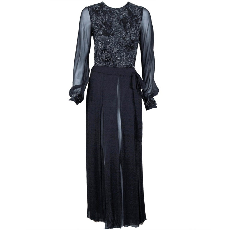 1970's Chanel Haute-Couture Black Silk Chiffon Beaded Evening Gown 1