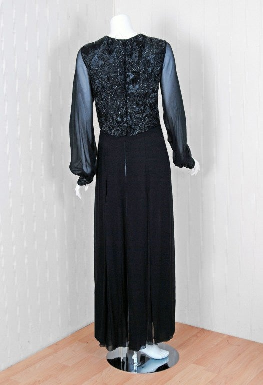 1970's Chanel Haute-Couture Black Silk Chiffon Beaded Evening Gown 4