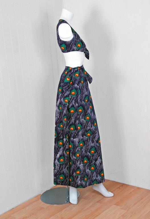 1960's Peacock-Feather Novelty Print Cotton Two-Piece Resort Ensemble Set 2