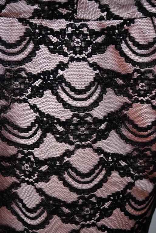 1940's Seductive Pink-Satin & Black-Lace Illusion Shelf-Bust Cocktail Wiggle Dress 3