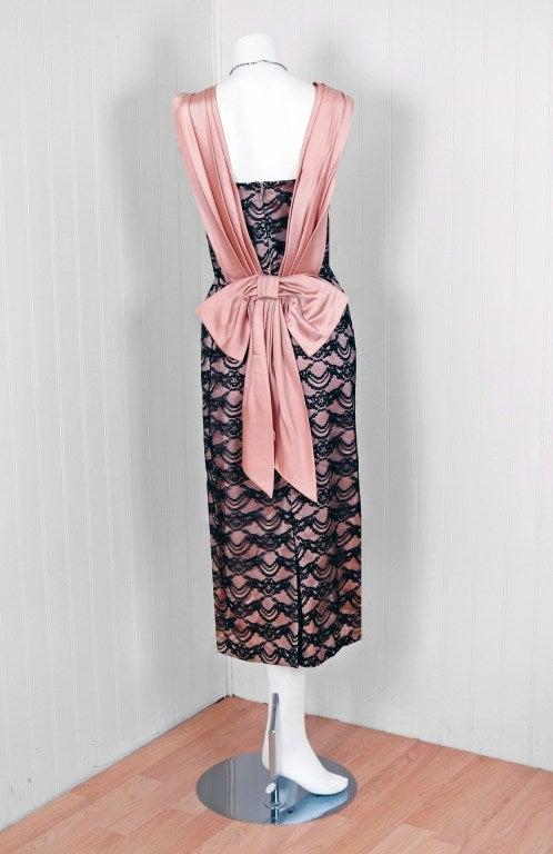 1940's Seductive Pink-Satin & Black-Lace Illusion Shelf-Bust Cocktail Wiggle Dress 4