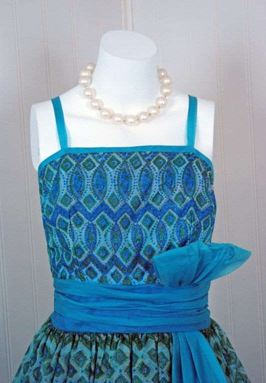 1950's Atomic-Blue Metallic Silk Organza Peplum Full Party Dress image 2