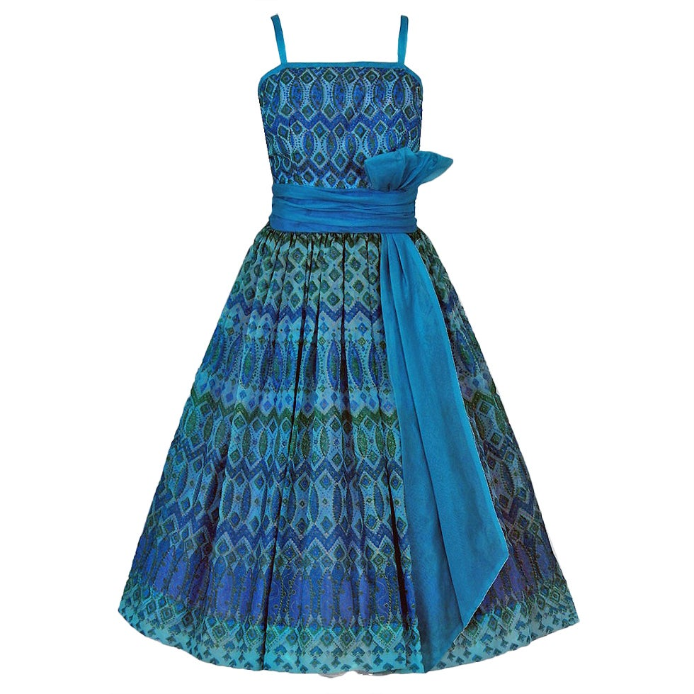 1950's Atomic-Blue Metallic Silk Organza Peplum Full Party Dress