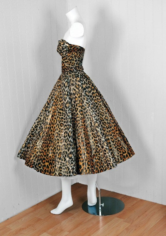 1950's Nettie Rosenstein Metallic Leopard-Print Strapless Full Party Dress image 2