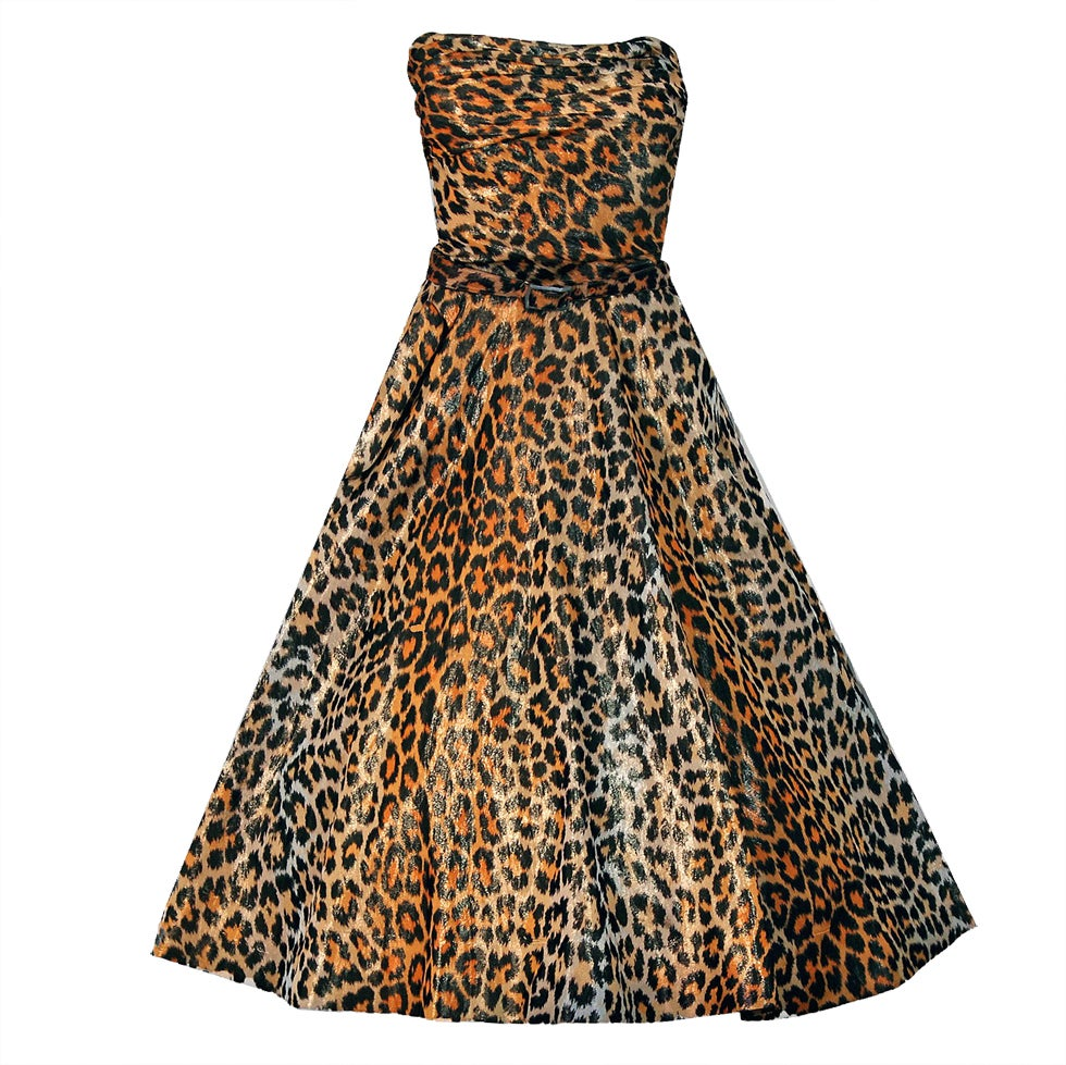 1950's Nettie Rosenstein Metallic Leopard-Print Strapless Full Party Dress