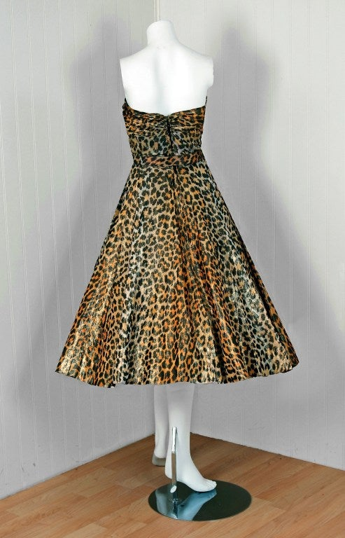 1950's Nettie Rosenstein Metallic Leopard-Print Strapless Full Party Dress image 5