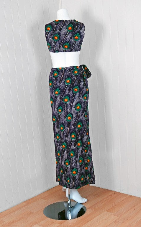 1960's Peacock-Feather Novelty Print Cotton Two-Piece Resort Ensemble Set 5