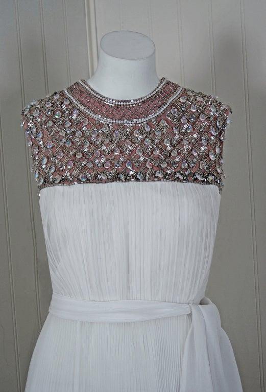 1960's Crisp-White Beaded Pleated Chiffon Goddess Cocktail Dress 2