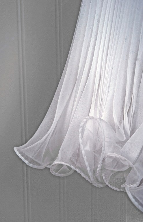 1960's Crisp-White Beaded Pleated Chiffon Goddess Cocktail Dress 4
