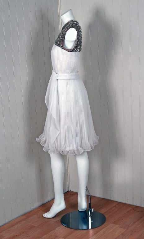 1960's Crisp-White Beaded Pleated Chiffon Goddess Cocktail Dress For Sale 2
