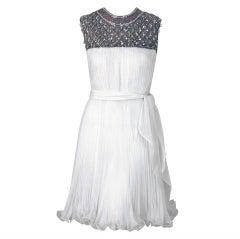 1960's Crisp-White Beaded Pleated Chiffon Goddess Cocktail Dress